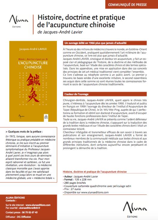 Histoire, doctrine et pratique de l'acupuncture chinoise de Jacques-André Lavier